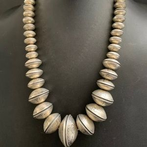 Jewelry - Navajo Sterling Silver Graduated Bead Necklace